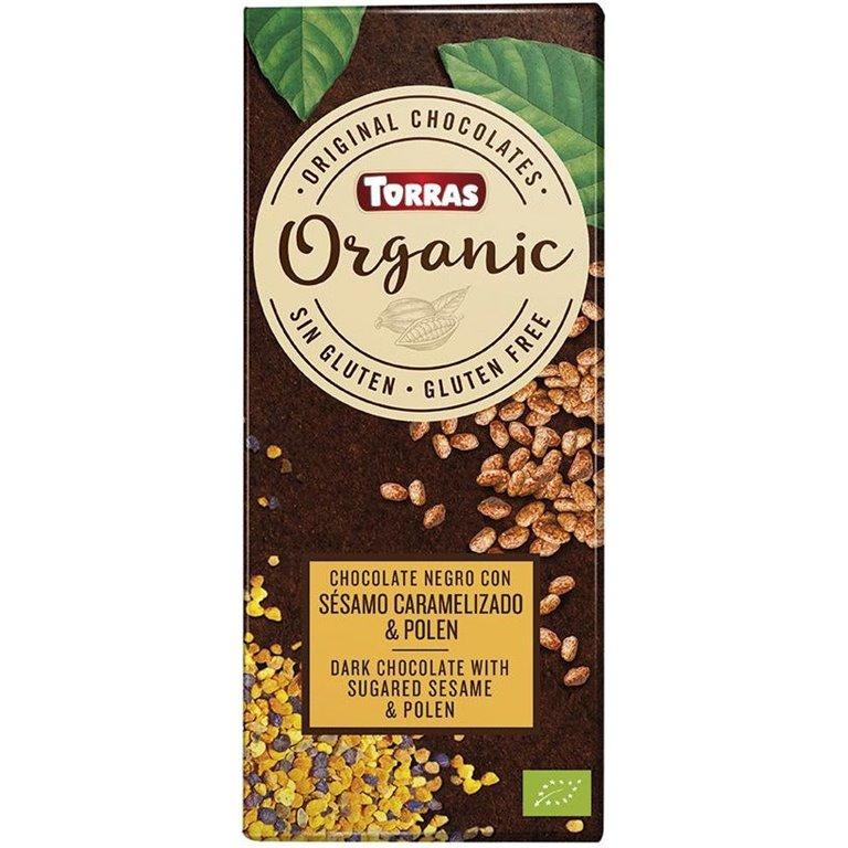 Chocolate Negro con Sésamo Caramelizado y Polen Bio 100g