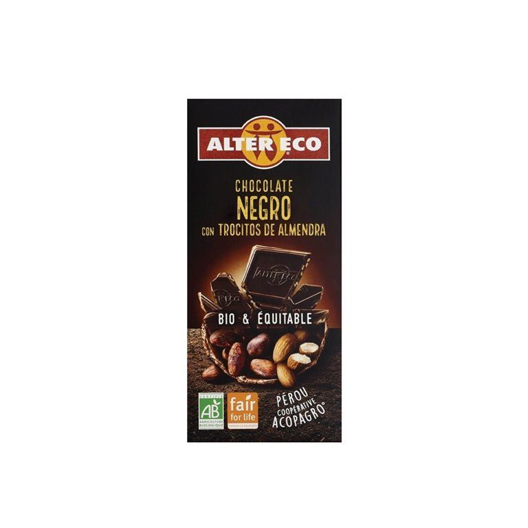 Chocolate Negro con Trocitos de Almendra Bio Fairtrade 100g