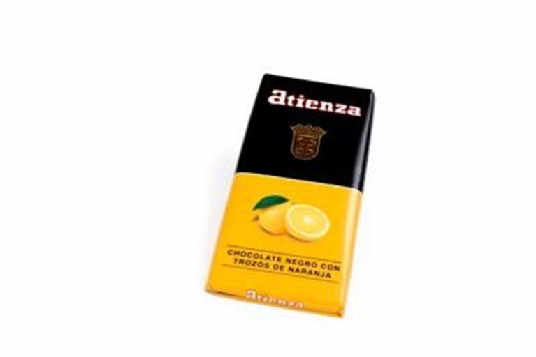 Chocolate negro con trozos de naranja Atienza