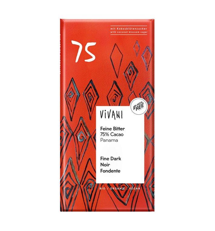 Chocolate negro orgánico 75% cacao Panamá Vivani