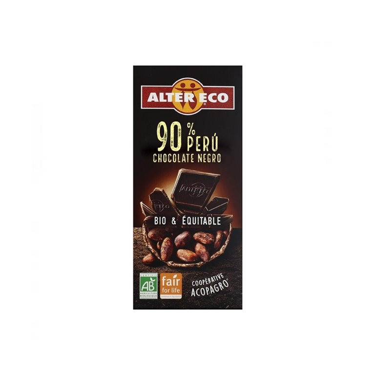 Chocolate Negro Perú 90% Bio Fairtrade 100g