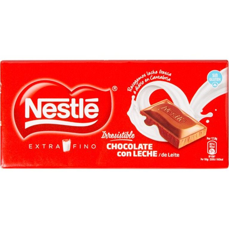 Chocolate Nestlé con leche extra fino (125 gr, sin gluten), 1 ud