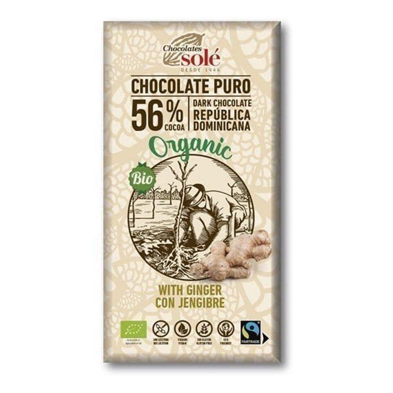 Chocolate organico 56% con jengibre 100g