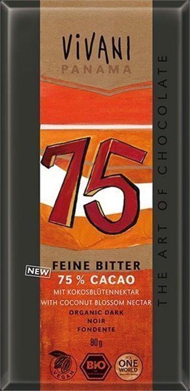 Chocolate Panamá 75%, 80 gr