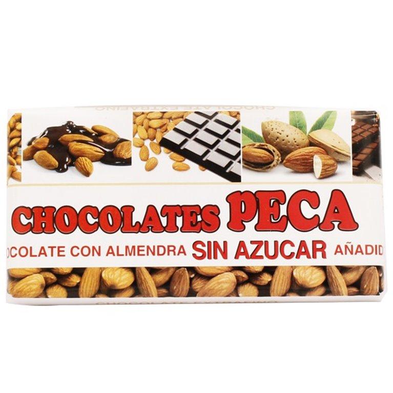 Chocolate puro con almendras sin azúcar peca
