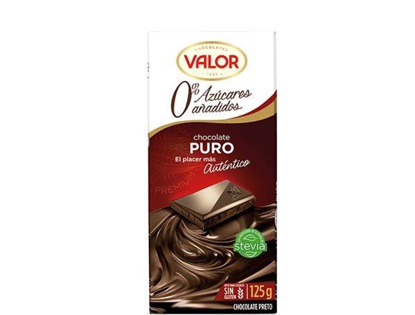 Valor - Chocolate puro 0% azúcares añadidos (125 gr, sin gluten)