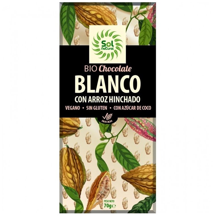 Chocolate Vegano Blanco con Arroz Hinchado Bio 70g