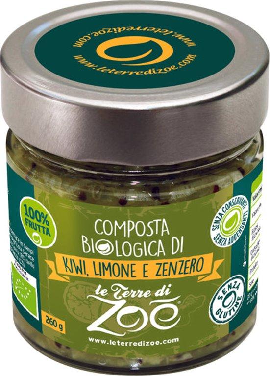 Compota ecológica de kiwi , jengibre y limón 260g