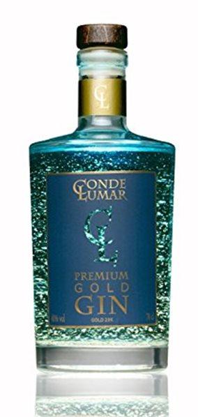 Conde Lumar Blue Gold Gin con oro de 23 kilates