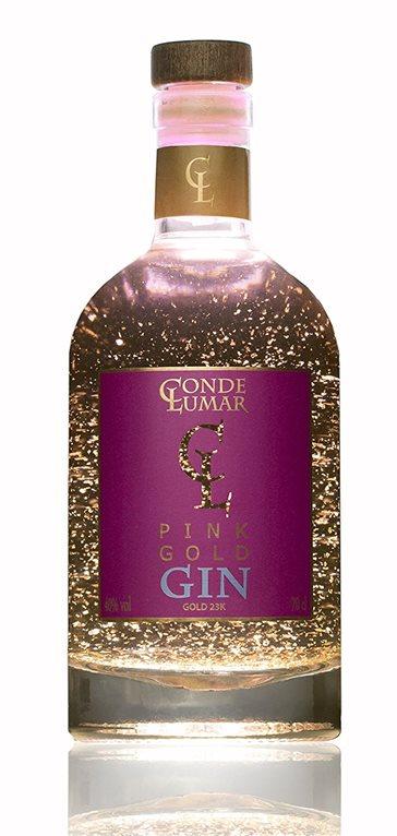 Conde Lumar Pink Gold Gin con oro de 23 kilates, 1 ud