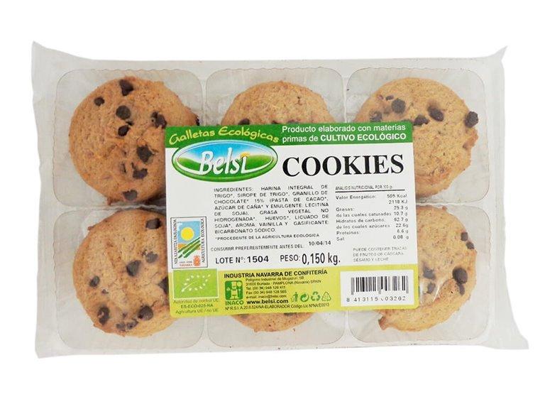 Cookies con trozos de chocolate SIN LACTOSA-, 150 gr