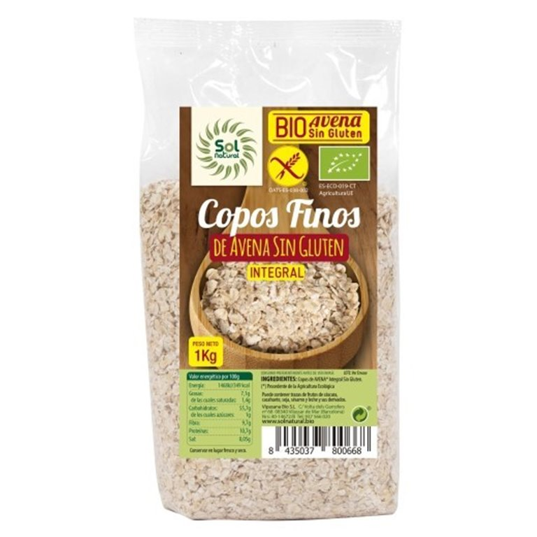 Copos de Avena Integral Sin Gluten Finos Bio 1kg