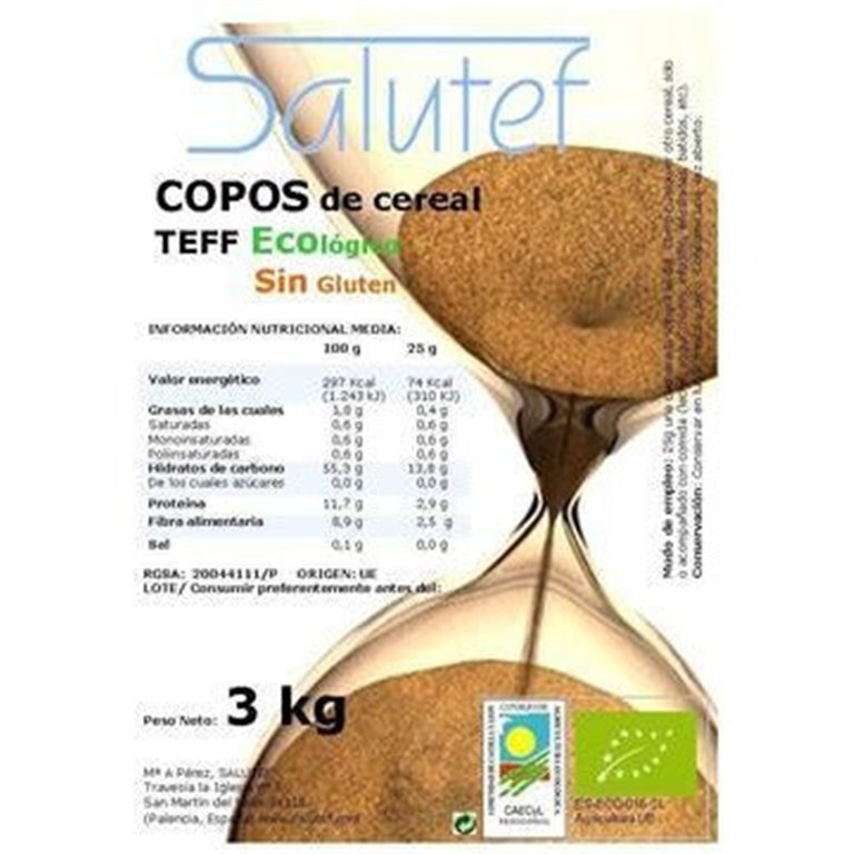 Copos de Teff Bio 3kg, 1 ud