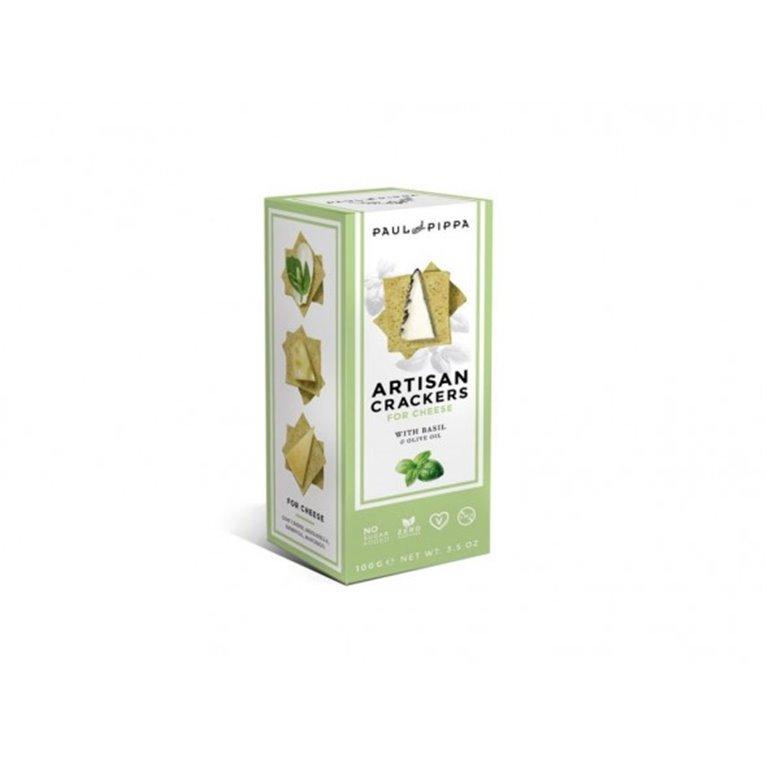 Crackers Artesanos de Albahaca Paul and Pippa 100 gr., 1 ud