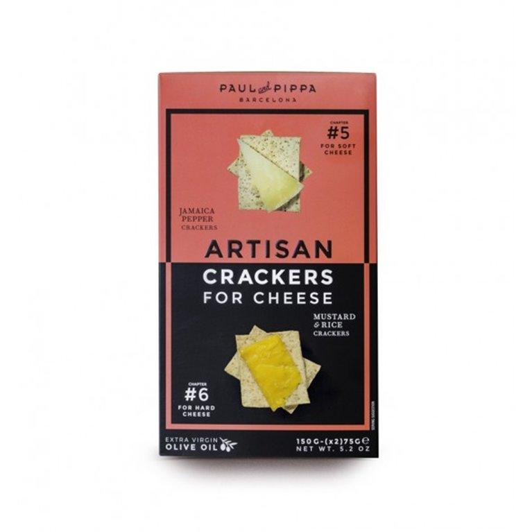 Crackers Artesanos Paul and Pippa 150 gr. Pimienta Jamaica & Mostaza y Arroz, 1 ud