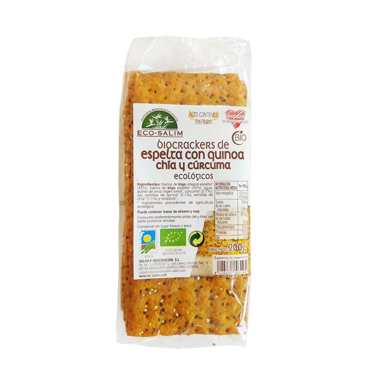 Crackers de Espelta con Quinoa, Chia y Cúrcuma Bio 200g