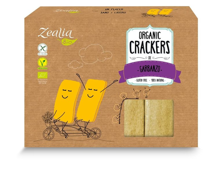 Crackers de garbanzo sin gluten, 120 gr