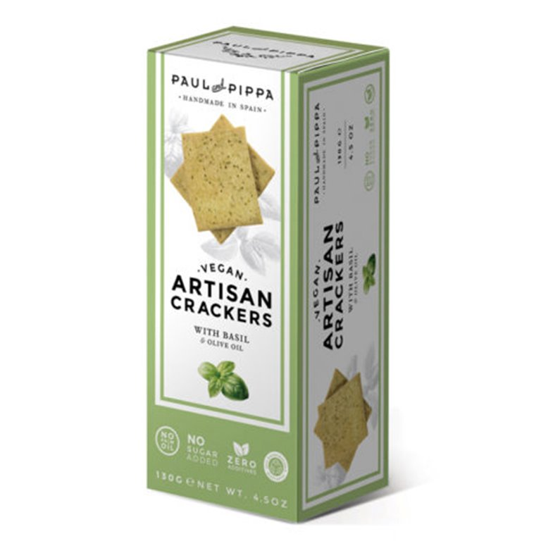 Crackers veganas de albahaca Paul and Pippa