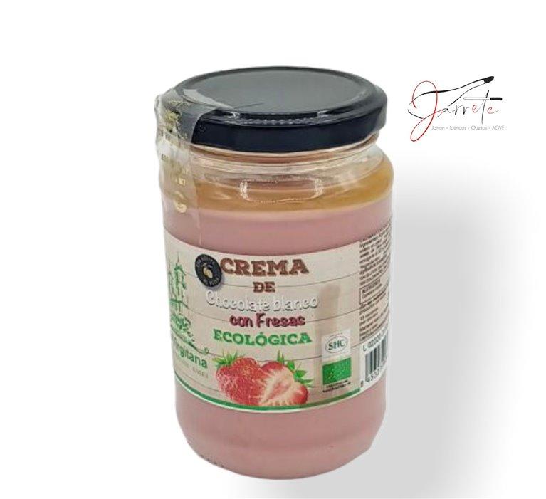Crema de Chocolate Blanco con Fresas Ecológica - Tarro, 400 gr