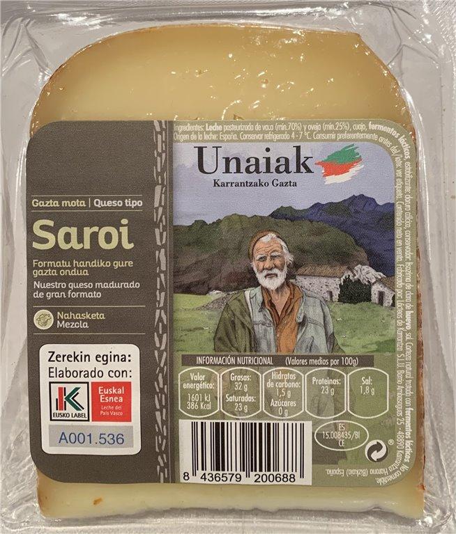 Cuña de Queso Saroi Unaiak Elaborado con Leche del País Vasco sello Eusko Label 200 grs.