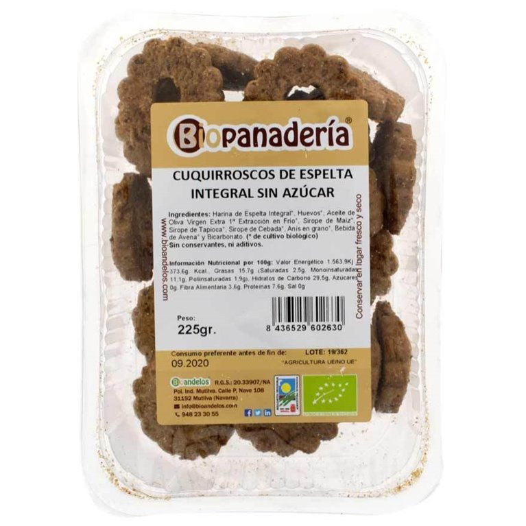 Cuquirroscos de Espelta Integral sin azúcar 200g Galletas Ecológicas Artesanas, 1 ud