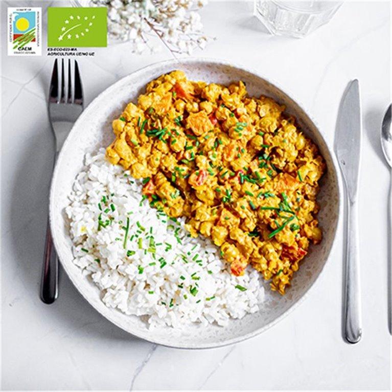 Curry chana-masala de garbanzos con arroz BIO
