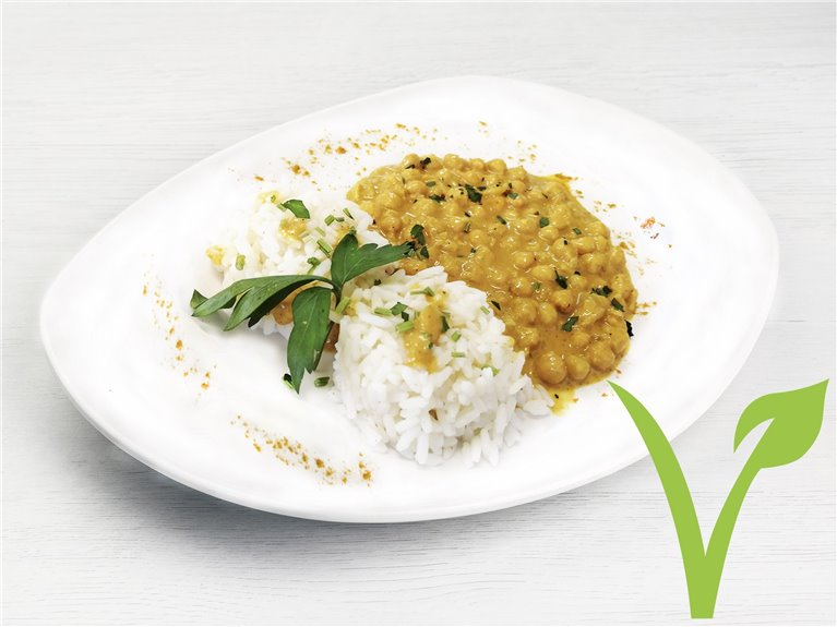 Curry de garbanzos con arroz
