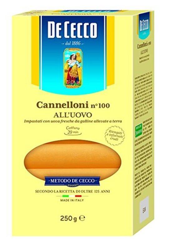 DE CECCO Cannelloni all´uovo nº 100 (250 gr), 1 ud