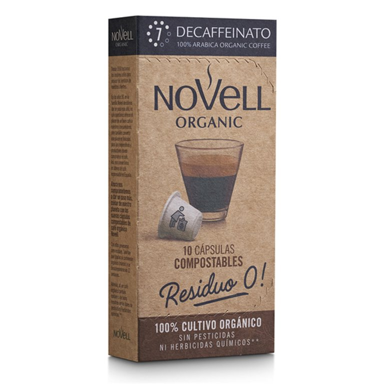 DESCAFEINADO - Cápsulas de café orgánico, compostables y compatibles Nespresso® - 10 uds