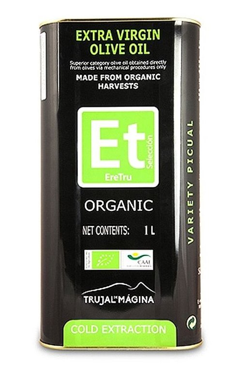 Eretru. Aceite de oliva Ecológico. 12 Latas de 1 Litro, 1 ud