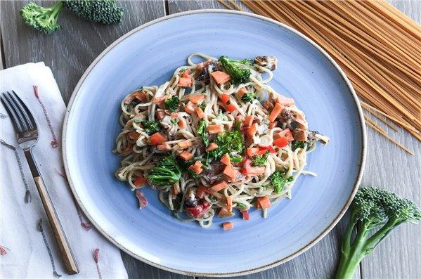 Espaguetis carbonara de verduras