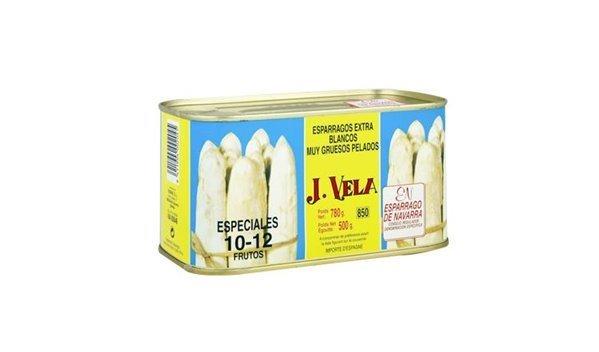 Espárragos blancos extra muy gruesos 10-12 uds, peso neto 780 gr.