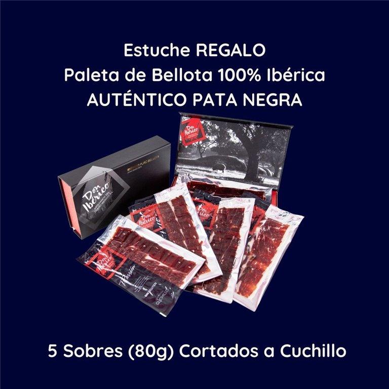 ELEGANT CASE [ ELEGANT CASE ] 5 packets of sliced with knife - 100% Iberian Acorn-fed Paleta (PATA NEGRA) 100% Iberian Breed (Black Seal)