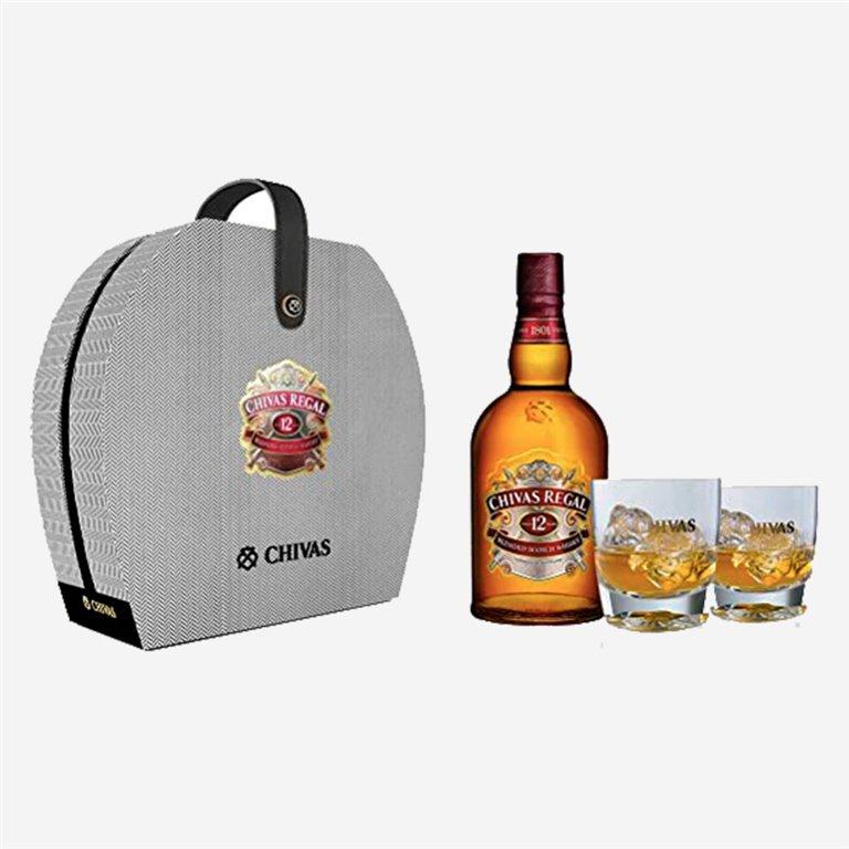 Estuche gris con vasos Whisky Chivas Regal 12 años