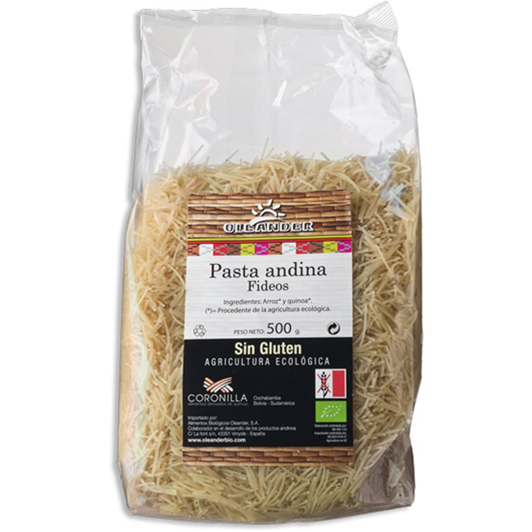 Fideos Andinos de Arroz y Quinoa Sin Gluten Bio 500g, 1 ud