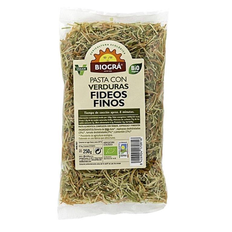 Fideos Finos de Trigo Duro con Verduras Bio 250g