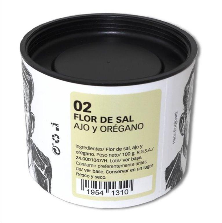 Flor de Sal with Garlic and Oregano 100 g.