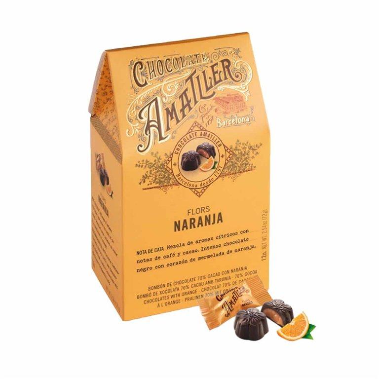 Flores 70% cacao con naranja Amatller