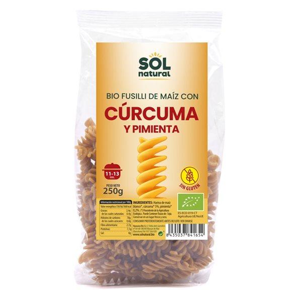 Fusilli de Maíz con Cúrcuma y Pimienta Sin Gluten Bio 250g