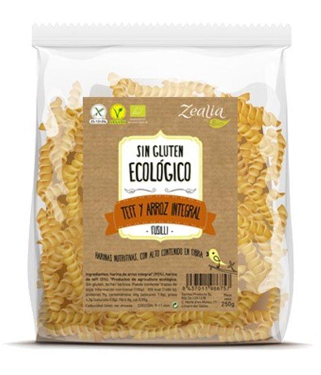 Fusilli de teff y arroz integral sin gluten, 250 gr
