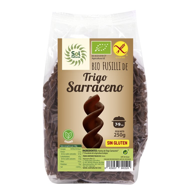 Fusilli de Trigo Sarraceno Sin Gluten Bio 250g