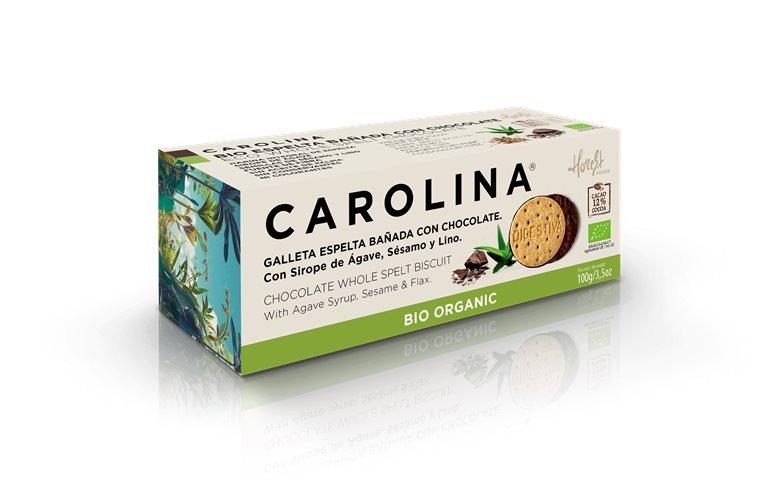 Galleta Bio Digestive Espelta Integral Bañada con Chocolate, Sirope de Ágave, Semillas de Sésamo y Lino
