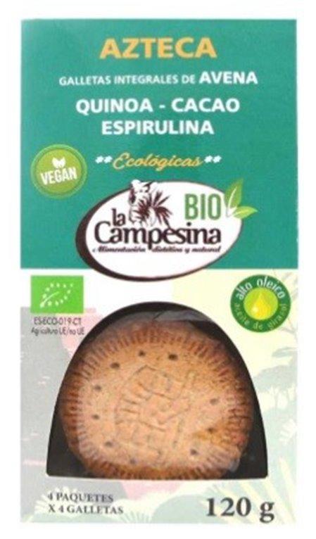 Galletas Azteca Integrales de Avena, Quinoa, Cacao y Espirulina Bio 120g