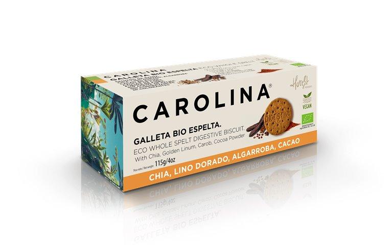 Galletas Bio Digestive Espelta Integral con Lino dorado, Algarroba, Chia y Cacao