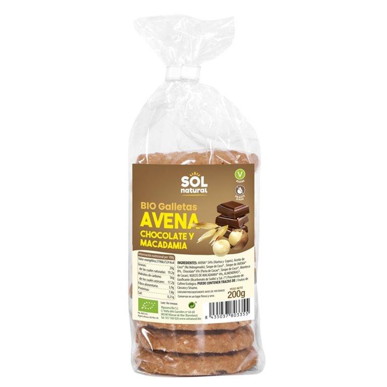 Galletas de Avena con Chocolate y Macadamia Bio 200g
