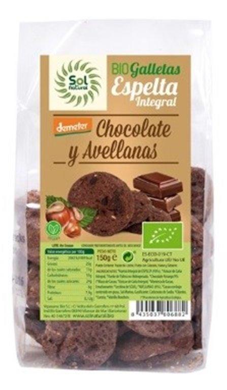 Galletas de Espelta Integral con Chocolate y Avellanas Bio 150g