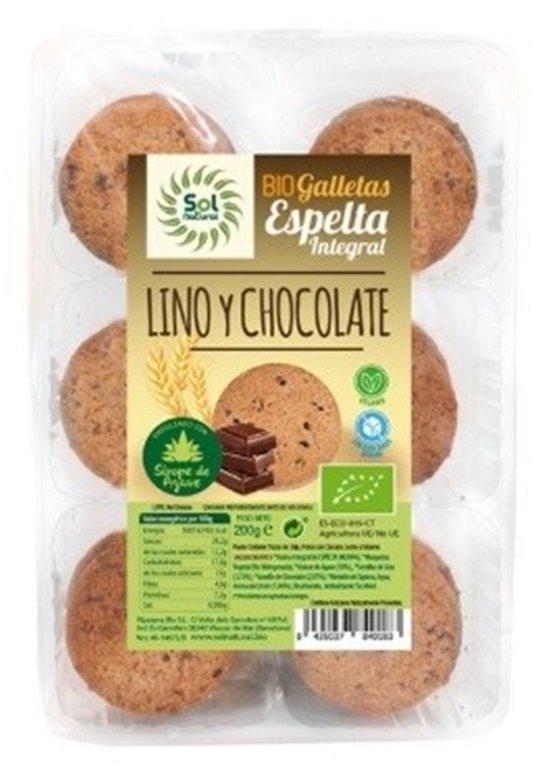 Galletas de Espelta Integral con Lino, Chocolate y Agave Bio 200g, 1 ud