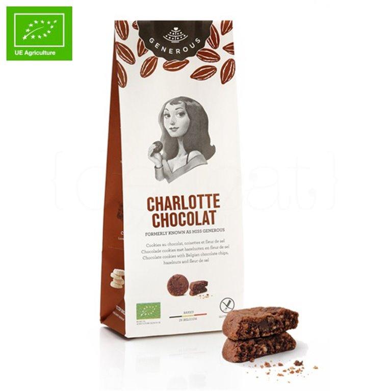 Galletas Ecológicas de Chocolate, Avellanas y Flor de sal (Charlotte Chocolat) 120gr. Generous. 8un., 1 ud