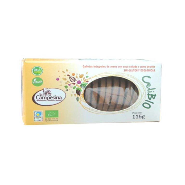 Galletas Integrales de Avena con Piña y Coco Sin Gluten Bio 115g