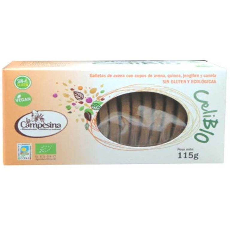 Galletas Integrales de Avena con Quinoa, Jengibre y Canela Sin Gluten Bio 115g